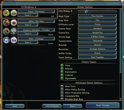 Civilization V: Advanced SetUp Game