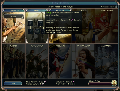 Civilization V: Social policies - Liberty tree